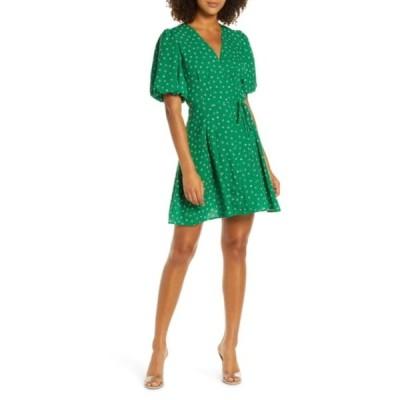 フレンチコネクション レディース ワンピース トップス Adelise Puff Sleeve Fit & Flare Minidress FERN GREEN