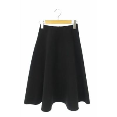 【中古】QUEENS COURT 20SS 洗濯機で洗えるサーキュラーシンプルフレアスカート ロング 0 黒 /YS ■OS レディース