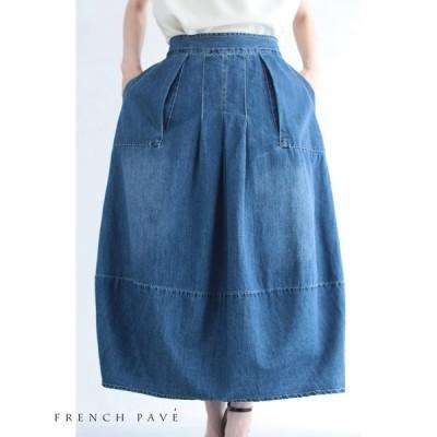 (M~3L対応) FRENCH PAVE ポワンシルエットのデニムコクーンスカート