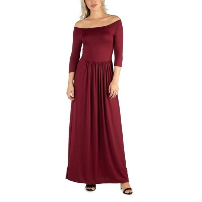 24セブンコンフォート ワンピース トップス レディース Women's Off Shoulder Pleated Waist Maxi Dress Red