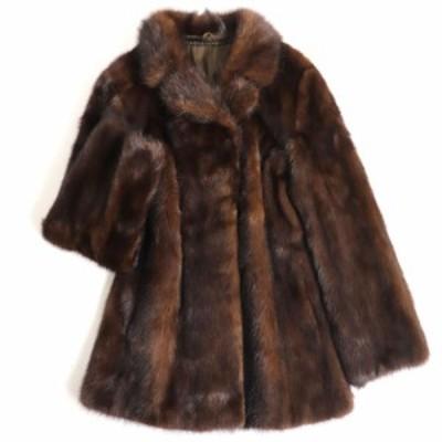 毛並み極美品▼MINK 裏地花柄刺繍入り 本毛皮コート ダークブラウン 毛質艶やか・柔らか◎