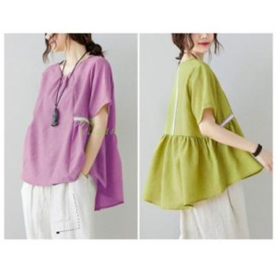 トップス シャツ Tシャツ 無地 半袖 40代 リネン ブラウス 大きいサイズ ゆったり フレアシャツ 夏 シャツブラウス体型カバー レディース