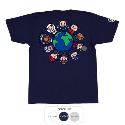 おもしろtシャツ 和柄 開運 元祖豊天商店 世界美豚 Tシャツ 半袖 B01