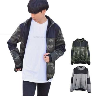ジャケット ブルゾン パーカー スタンドジャケット ジップアップ 防風 ボンディング 裏フリース 長袖 切替 無地 アウター メンズ