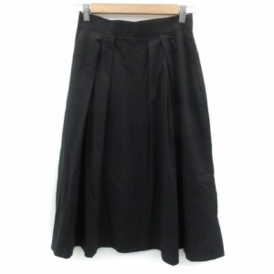 【中古】ケティ KETTY スカート フレア ミモレ丈 2 ブラック 黒 /YM16 レディース