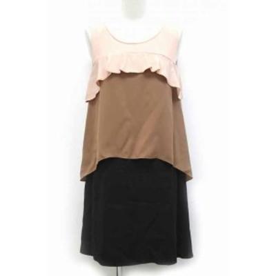 【中古】ダイアグラム グレースコンチネンタル ワンピース ドレス パーティー 配色 ノースリーブ 36 ブラウン 茶 /BB