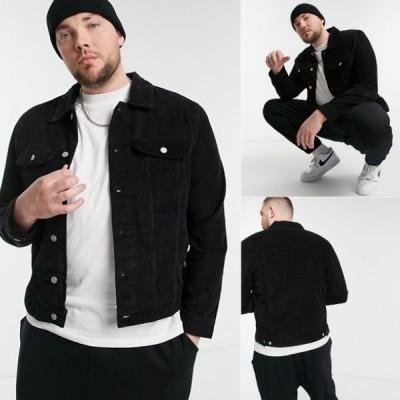 【メンズの大きいサイズ服】コーデュロイジャケット ブラック 春まで使えるシンプルジャケット 3L,4L,5L,6L