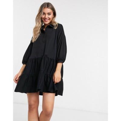 エイソス ASOS DESIGN レディース ワンピース シャツワンピース ティアードドレス ワンピース・ドレス Mini Tiered Shirt Dress ブラック