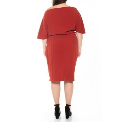 アレクシアアドマー レディース ワンピース トップス Olivia Draped One Shoulder Sheath Dress RED OCHRE