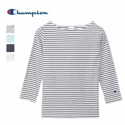 Champion チャンピオン / ウィメンズ ボートネックTシャツ ボーダー L/S (レディース ロングTシャツ) (CW-P401) (2020秋冬) (ネコポス対応商品)
