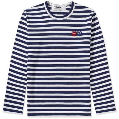 コム デ ギャルソン Comme des Garcons Play メンズ 長袖Tシャツ トップス Double Heart Long Sleeve Stripe Tee Navy