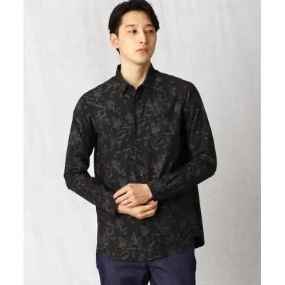 COMME CA MEN/コムサ・メン ボタニカルジャカードシャツ ブラック S