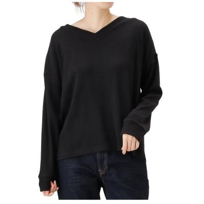 (MAC HOUSE(women)/マックハウス レディース)Navy ネイビー ランダムリブVネックTシャツ NVCW9103/レディース ブラック