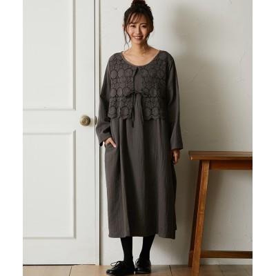 胸レース ワンピース (ワンピース)Dress
