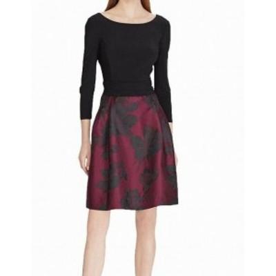 American  ファッション ドレス American Living Womens Black Size 12 Ruched Floral Sheath Dress