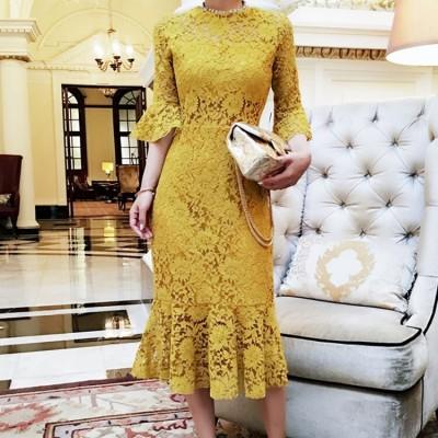 パーティードレス ひざ下 ミモレ丈 ドレス 袖あり レース パーティードレス 長袖 ワンピースドレス 韓国 ファッション レディース イエロー お呼ばれドレス