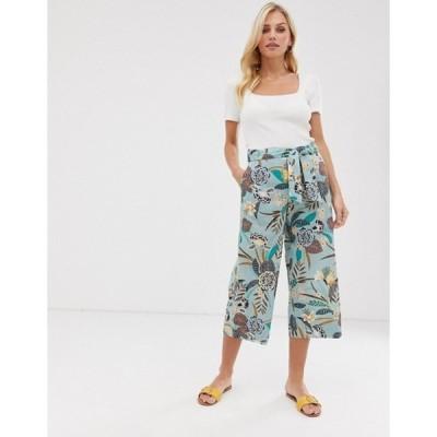 エスプリ レディース カジュアルパンツ ボトムス Esprit tropical pint wide leg culotte pants