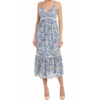 CeCe  ファッション ドレス Cece NEW Blue White Womens Size 10 Boho Ivy Forest Maxi Dress