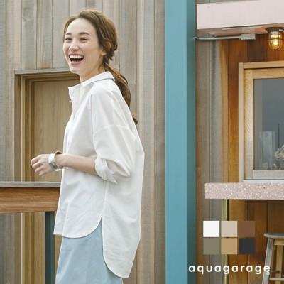 aquagarage ヒップまですっぽり♪ビッグシルエットシャツ グリーン L レディース