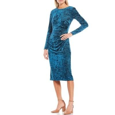 マギーロンドン レディース ワンピース トップス Side Ruched Long Sleeve Crushed Velvet Midi Sheath Dress