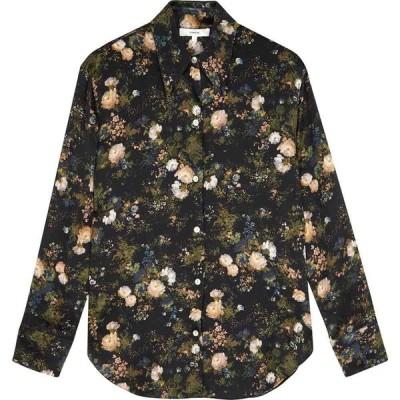 ヴィンス Vince レディース ブラウス・シャツ トップス navy floral-print silk blouse Multi