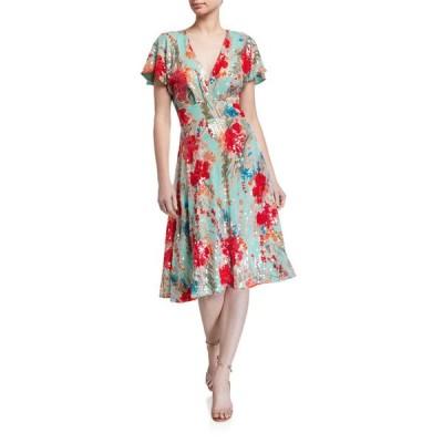バッドグレイミッシカ レディース ワンピース トップス Sequin Floral Print Short-Sleeve Dress w/ Swing Skirt