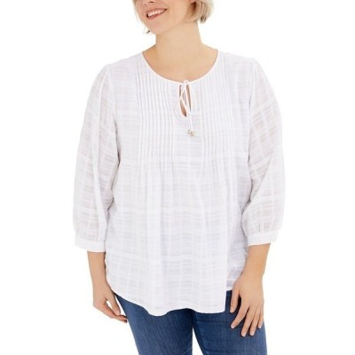 トミー ヒルフィガー カットソー トップス レディース Plus Size Pintuck Gauze Plaid Top, Created for Macy's White