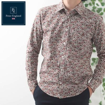 ピーターイングランド 英国老舗ブランド メンズ 長袖シャツ 2021 SS 新作 日本縫製 花柄プリント レッド コットン 長袖 メンズ