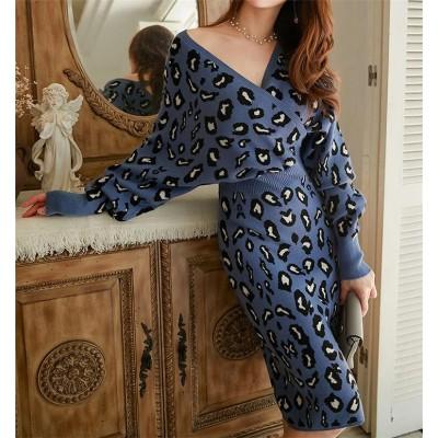 💖韓国ファッション 人気商品💖秋冬 レディース  Vネック ヒョウ バットスリーブ ウエスト スリム バッグヒップ ワンピース