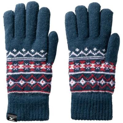 ミズノ ブレスサーモふわもこ手袋[メンズ] 14 ディープネイビー ML グラブ C2JY9634