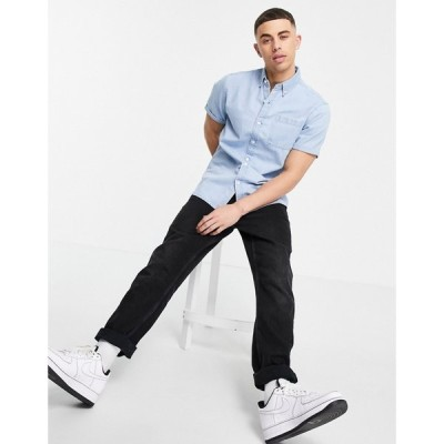 ニュールック New Look メンズ 半袖シャツ デニム トップス Short Sleeve Denim Shirt In Light Blue ブルー
