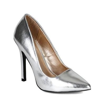 キューピッド レディース パンプス Qupid BI77 Women Metallic Leatherette Pointy Single Sole Stiletto Pump - Silver