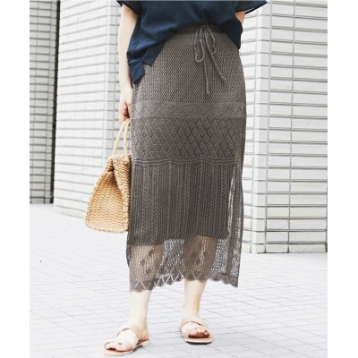 (eur3/エウルキューブ)【大きいサイズ】透かし編みニットスカート/レディース カーキ