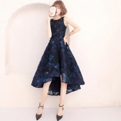 パーティードレス 大きいサイズ 結婚式 二次会 ワンピース お呼ばれドレス フィッシュテール 蝶 レース 刺繍 透け感 韓国