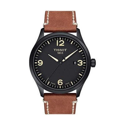 Tissot Men's Gent XL Stainless Steel Swiss Quartz Leather Calfskin Strap, Beige, 22 Casual Watch (Model: T1164103605700) 並行輸入品