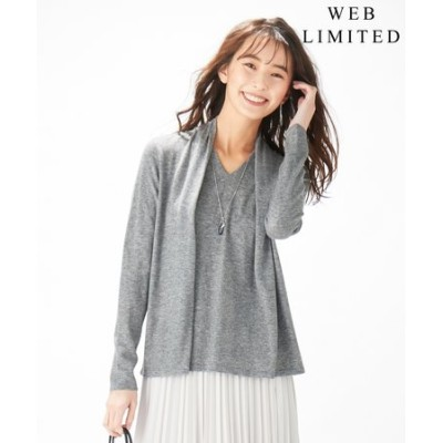 【WEB限定】洗えるSEMI WORSTED レイヤード風 ニット