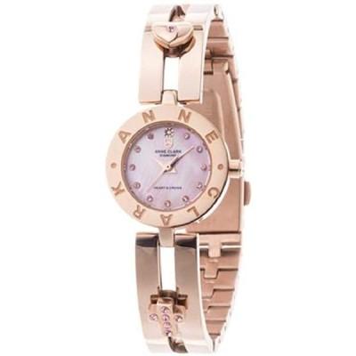 ANNE CLARK レディース腕時計 AM1020シリーズ ムービング ハートandクロス 天然ピンクシェル文字盤 天然ダイヤ ダイヤモンド お肌に