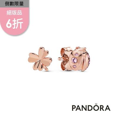 【Pandora官方直營】幸運草與瓢蟲耳環