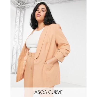 エイソス ASOS Curve レディース スーツ・ジャケット アウター Curve mix & match tailored suit blazer in blush ベビーピンク