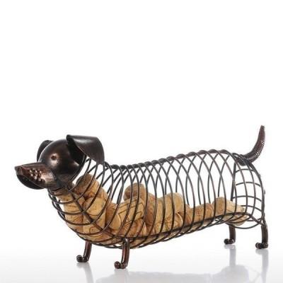 ワインラック ギフト ワインコルク入れ Tooarts 金属動物置物 ダックスフント 工芸家の装飾 アクセサリー