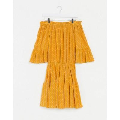 エイソス ASOS DESIGN レディース ワンピース サンドレス ミニ丈 ワンピース・ドレス off shoulder tiered mini sundress in mustard polka dot