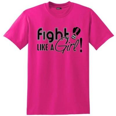 ガールズ 衣類 トップス Fight Like a Girl Breast Cancer T-Shirt Unisex Hot Pink [S] グラフィックティー