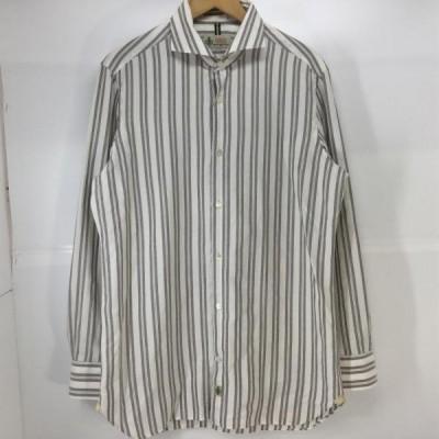LUIGI BORRELLI ルイジ ボレッリ 長袖 シャツ、ブラウス Shirt, Blouse ワイドカラー 長袖 シャツ ストライプ 10009718