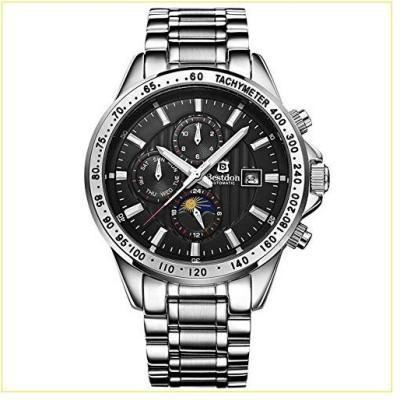 【新品・未使用品】WERTY&K メンズ 機械式スポーツウォッチ - 完全自動 防水 ビッグフェイス スイム腕時計 クラ