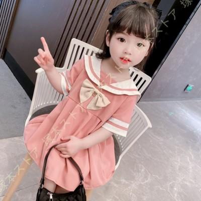 女の子 ワンピース ガールズ プリンセスドレス 女児 無地 子供服 キッズ 半袖 可愛い チュールスカートラウンドネック 海軍風 ジャンパースカート 通気性