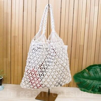 かごバッグ 手編み コットン ロープ メッシュ バッグ ハンドバッグ ナチュラル エスニック リゾート 海 レディース