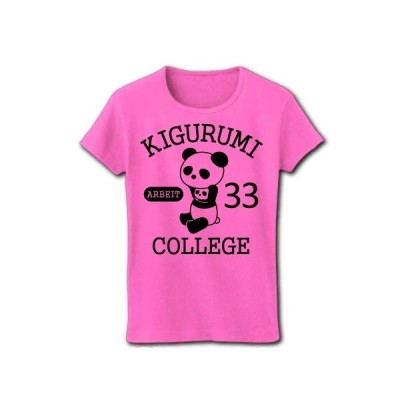 着ぐるみバイト大学(ぱんだ科) リブクルーネックTシャツ(ピンク)