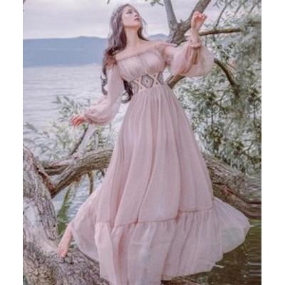 二枚送料無料/天使風マキシワンピース/パフスリーブ/ボヘミアンドレス/美しい/森ガール系/ハイウエスト/刺繍ドレス/リゾート/写真撮影