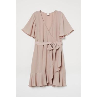 H&M - Vネックラップドレス - ピンク