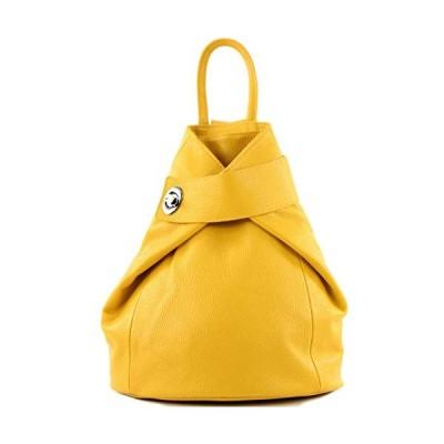 modamoda de - T179 - ital women backpack bag made of leather, Colour:yellow 並行輸入品